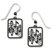 Sienna Sky Black Treble Clef Notes Music Earrings 1725