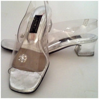 Vintage 90s Shoes // Clear See Through Heel // Kitten Heel Plastic with Rhinestone