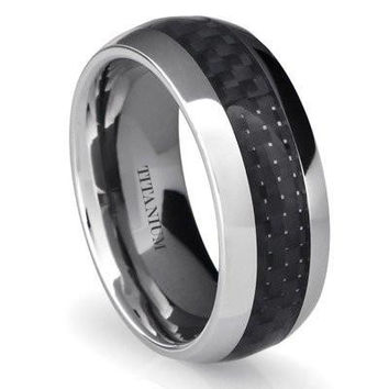 8MM Titanium Ring Wedding Band with Black Carbon Fiber Inlay | FREE ENGRAVING