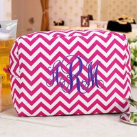 Embroidered Chevron Cosmetic Bag- Pink