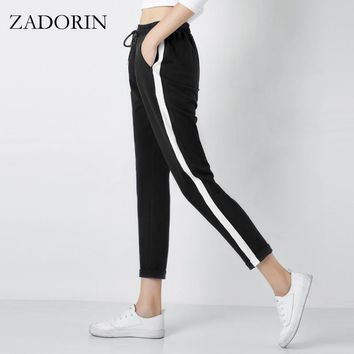 Women Leather Striped Harem Pants Women Black Casual High Waist Pants Drawstring Loose Trousers Pantalon Femme