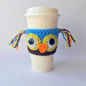 Crochet Owl Coffee Cozy, Coffee Cozy, Crochet Coffee Cozy, Coffee Sleeve, Crochet Owl, Coffee Sleeve, Owl Crochet Coffee Sleeve, Cup Cozy