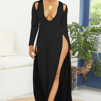 Slinky Long Dress With Front High Slits
