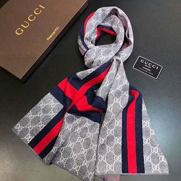GUCCI winter tide brand men's cashmere knit long scarf Grey