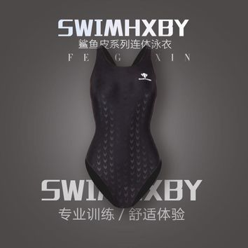 HXBY one piece sharkskin  triangle competition training swimsuit waterproof  competitive swim suits racing girls