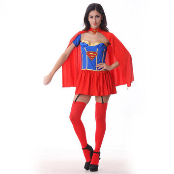 Superwoman dress Halloween costume for women cosplay adult female nightclub clothing stage performance role playing game dress