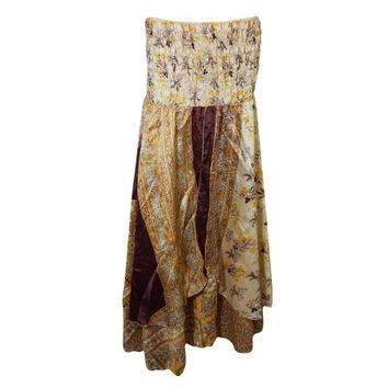 Mogul Womens Beige Vintage Two Layer Printed 2 In 1 Dress And Long Skirts - Walmart.com