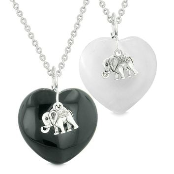 Lucky Elephant Charms Love Couples or Best Friends Amulets Black Agate White Simulated Cats Eye Necklaces