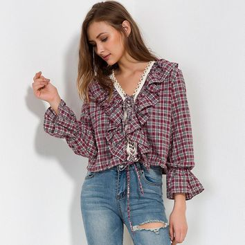 Spring Women Ruffle Blouse Top Long Sleeve Shirts Ladies Lace Up Ruffles Loose Casual Plaid Shirt blusa feminina Big size