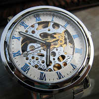 Silver and Blue Men's Classic Mechanical Wrist Watch with Metal Band - Stainless Steel - Automatic Self-winding - Item MWA4001