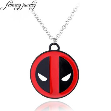 Marvel Comics Deadpool Pendant Popular Superhero Deadpool Logo Red Alloy Statement Necklaces Fashion Jewelry Accessories For Men