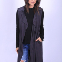 Charcoal Trench Vest
