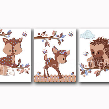Blue brown nursery art woodland wall decor fox poster kids room decoration baby boy bedroom artwork children art baby shower toddler gift