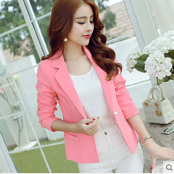 Fashion Spring summer Women Slim Suit Blazer Coat Female Casual Jacket Long Sleeve One Button Lady  pink Blazers Solid Work Wear