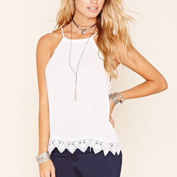 Semi-Sheer Crochet Trim Cami