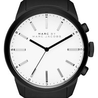 Men's MARC BY MARC JACOBS 'Dillon' Leather Strap Watch, 44mm - Black/ White