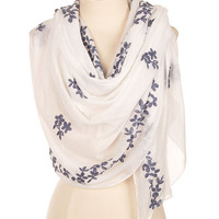 Lightweight Floral Embroidery Tassel Corner Scarf - White/Blue or Gray/White