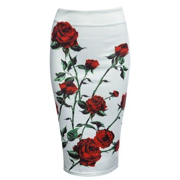 High Waist Sheathy Pencil Floral Zippered Skirt