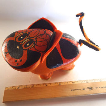 Vintage Painted Cat Made From Large Rocks Folk Art Rustic 7 Inches Long X 4 inches Wide X 4 Inches Tall