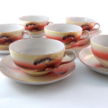 Vintage Teacups and Saucers Set of Six Tree in the Meadow Noritake Japan China