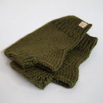 Hand Knit Wool Free wristwarmers-- The Condyle Fingerless Mittens in Olive