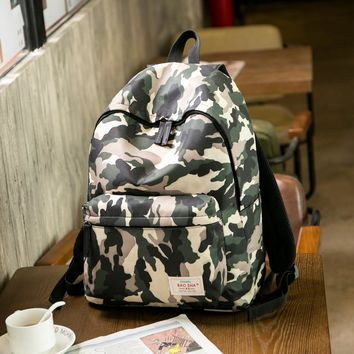 Green Camouflage Canvas Backpack