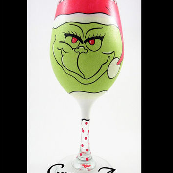 Grinch Wine Glass, The Grinch, Christmas Wine Glass, Hand Painted Wine Glass, Painted Wine Glass, Festive Wine Glass, Holiday Wine Glass