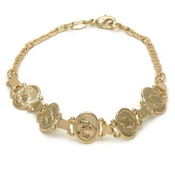 Gold Layered 03.32.0138.1.07 Fancy Bracelet, Elephant and Mariner Design, Polished Finish, Golden Tone