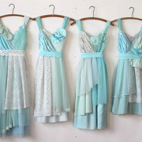Custom Turquoise Aqua & Teal Bridesmaids Dresses