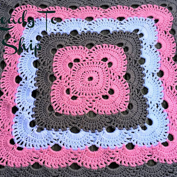 Baby Afghan - Baby Girl Afghan - Ready To Ship - Pink White Gray Baby Girl Afghan - Baby Blanket - Baby Shower Gift - Baby Girl Gift