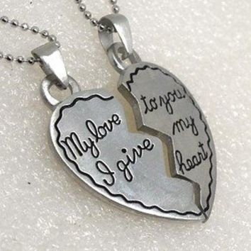 My love to you, I give my heart Jigsaw Romance split heart silver pewter Pendant