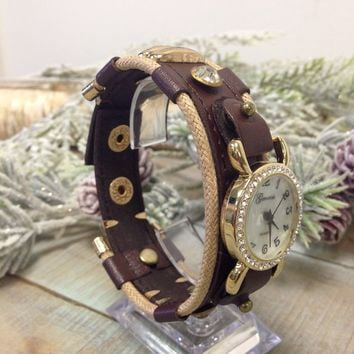 BLING watch - chocolate brown