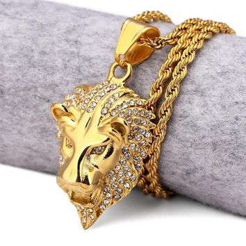 Men's Lion Head 18K Gold Necklace