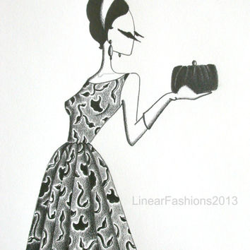 Original fashion illustration / 1950s ball gown drawing / vine print dress / pencil art / gift
