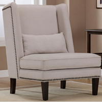 Wingback Chair With Pillow Living Room Furniture Nailhead Trim Light Tan Finish