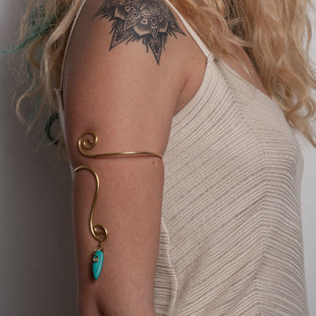women birthday gifts  Brass arm cuff - upper arm cuff , turquoise stone , spiral armlet, tribal bracelet, gypsy bracelet December Birthstone