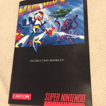MEGA MAN X (Super Nintendo, SNES) Video Game Custom Art Instruction Manual Only