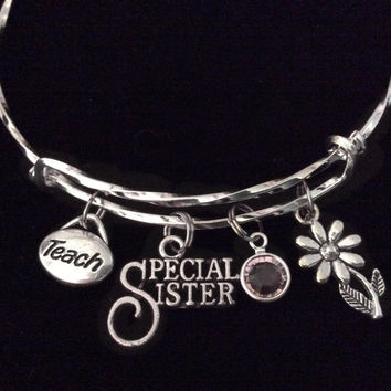 Special Sister Teacher Expandable Charm Bracelet Silver Adjustable Gift Twisted Bangle