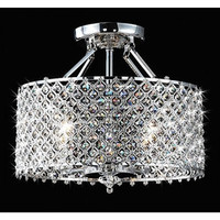 Chrome and Crystal 4 Light Round Ceiling Chandelier