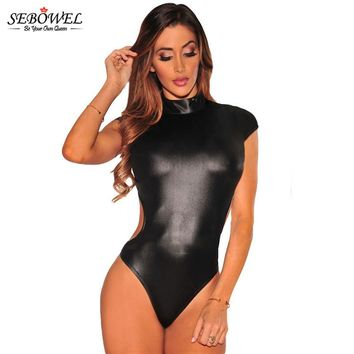 SEBOWEL 2017 Sexy Rompers Black Leather Bodysuit Women Slim Fit Bodysuit Short Sleeve Summer Jumpsuit Short Suits