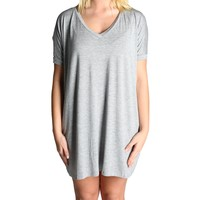Heather Grey Piko Tunic V-Neck Short Sleeve Dress
