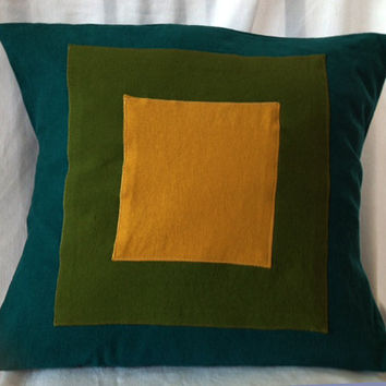 "Teal Green and Gold Color Block Pillow Cover  -- Appliqued Linen Blend -- Envelope Closure -- 20"" x 20"""