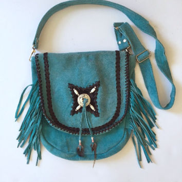 Turquoise Suede Leather Fringe Bag | Southwestern Native American Whipstitch Crossbody Fringe Purse Hippie Bag Satchel Festival Boho Handbag
