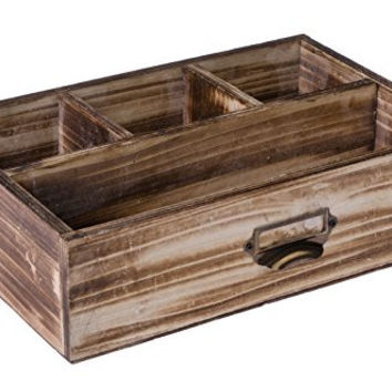 Dwellbee's Rustic Pine Wood Office Desk Decorative Organization Caddy