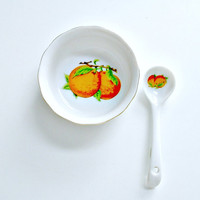 Jelly Jam Bowl with Spoon Oranges John Wagner And Sons Japan Marmalade Dish Vintage