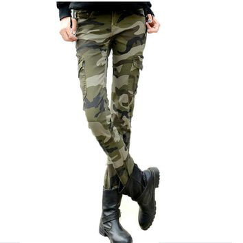 2016 fashion camo skinny jeans woman camouflage jeans slim plus size pencil jean femme pantalones vaqueros mujer 0421