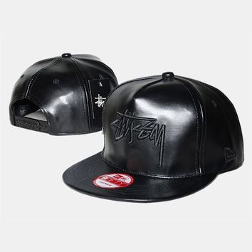cc spbest Stussy Stock New Era Faux Leather Black Hat