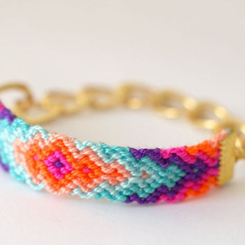 Chunky Chain Friendship Bracelet Rainbow Sherbet by makunaima