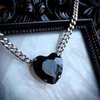 Black Heart Necklace - Gothic Wedding - Black Crystal Heart - Black Heart Pendant - Black Crystal Necklace - Heart Jewelry - Bridesmaid Gift
