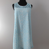 Layered Lace Shift Dress in Ocean